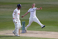 Olly Stone in bowling action for Warwickshire during Warwickshire CCC vs Essex CCC, LV Insurance County Championship Group 1 Cricket at Edgbaston Stadium on 25th April 2021