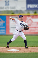 Princeton Rays second baseman Connor Hollis (39) throws to first base during the first game of a doubleheader against the Greeneville Reds on July 25, 2018 at Hunnicutt Field in Princeton, West Virginia.  Princeton defeated Greeneville 6-4.  (Mike Janes/Four Seam Images)