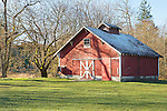 Red Barn, Fort Steilacoom County Park, Lakewood, WA.  Barn in field with winter landscape.