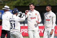 Dan Lawrence of Essex celebrates with his team mates after taking the wicket of Ed Barnard during Essex CCC vs Worcestershire CCC, LV Insurance County Championship Group 1 Cricket at The Cloudfm County Ground on 11th April 2021