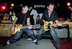 """Mike Ness (left) is joined on stage by Bruce Springsteen. Springsteen on a break from touring with the E-Street band in support of the band's newest recordings """"Magic"""" joined Ness and his band during the encore..Springsteen joined the band in singing four songs, including the classics """"I Fought The Law"""" and """"Ball and Chain. Also """"Misery Loves Company"""" a Ness penned song that Springsteen sang backing vocals on Ness's Cheating at Solitaire album. ....MIKE NESS & BAND.THE STONE PONY.ASBURY PARK, NJ .SAT. MAY 17,2008.PHOTO: MARK R. SULLIVAN/MARKRSULLIVAN.COM.."""