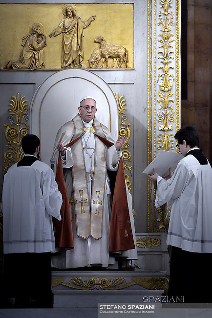 Pope Francis Celebration of the second vespers of Saint Paul basilica in Rome. January 25, 2016