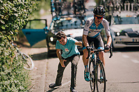 Ben Perry (CAN/Israel Cycling Academy) helped back on the road after a mechanical<br /> <br /> 98th Brussels Cycling Classic 2018<br /> One Day Race:  Brussels > Brussels (201km)