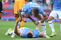 26th September 2021;  Stadio Olimpico, Rome, Italy; Italian Serie A football, SS Lazio versus AS Roma; Sergej Milinkovic Savic of SS Lazio celebrates after scoring his goal for 1-0 in the 10th minute