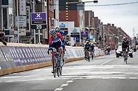 Dries Van Gestel (BEL/Total Direct Energie) crossing teh finish line<br /> <br /> 83rd Gent-Wevelgem - in Flanders Fields (ME - 1.UWT)<br /> 1 day race from Ieper to Wevelgem (BEL): 254km<br /> <br /> ©kramon