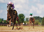 July 10, 2021:  Phat Man #6, ridden by jockey Florent Geroux wins the Battery Park Stakes at Delaware Park  in Wilmington, Delaware on July 10, 2021. Scott Serio/Eclipse Sportswire/CSM