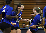 Erin Allison and Melissa Warren celebrate with the Marymount University Saints during first round action at the 6th annual Worthington Classic at Gallaudet University in Washington, D.C., on Friday, Sept. 28, 2012. .Photo by Cathleen Allison