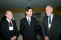 Montreal, March 28, 2001<br /> Canada Environment Minster David Anderson (right)<br /> discuss with Quebec Environment Minister Andre Boisclair (middle) and Federal deputy for Lac St-Louis and President of Honor on the opening day of America 2001 environmental trade show and exhibit in Montreal, CANADA<br /> Photo by Pierre Roussel /<br /> NOTE :  Uncorrected JPEG from D 1