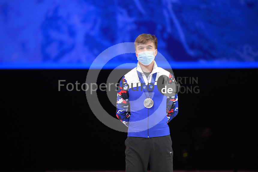 SPEEDSKATING: DORDRECHT: 06-03-2021, ISU World Short Track Speedskating Championships, Podium 500m Men, Semen Elistratov (RSU), ©photo Martin de Jong