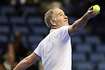 USA's John McEnroe gets read to serve during the HSBC Tennis Cup series at First Niagara Center in Buffalo, NY on October 22, 2011