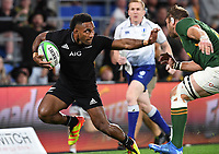 2nd October 2021, Cbus Super Stadium, Gold Coast, Queensland, Australia;   All Blacks wing Sevu Reece holds off the tackle and scores a try. New Zealand All Blacks versus South Africa Springboks.The Rugby Championship. Rugby Union test match.