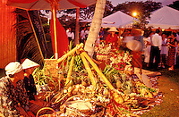 Booths, participants, and copious food at the Maunalani Hotel Food Festival, Big Island