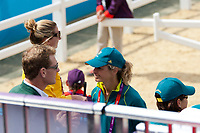 AUS-Lucinda Fredericks watches Husband Clayton's Dressage: 2012 LONDON OLYMPICS (Sunday 29 July 2012) EVENTING DRESSAGE: INTERIM-