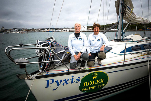 Kirsteen Donaldson and Judith Eastwood with their trusty vintage X332 Pyxis, with which they've done the Round Ireland Race in the two-handed division four times