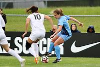 Piscataway, NJ - Sunday April 30, 2017: Yael Averbuch, Daphne Corboz during a regular season National Women's Soccer League (NWSL) match between Sky Blue FC and FC Kansas City at Yurcak Field.