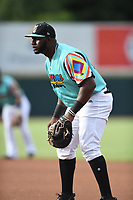 Tyreque Reed (37) of Las Llamas de Hickory in action during a game against Los Rapidos de Kannapolis at L.P. Frans Stadium on July 17, 2019 in Hickory, North Carolina. The Llamas defeated the Rapidos 7-5. (Tracy Proffitt/Four Seam Images)
