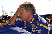 Nov 13, 2005; Phoenix, Ariz, USA;  Jimmy Fenning crew chief of the #97 Irwin Ford of Jack Roush Racing reacts to the news that 2004 Nextel Cup Champion Kurt Busch was pulled from the car for the remainder of the season after being arrested for wreckless driving Friday night in nearby Avondale, Ariz. Wallace was notified hours before the race that he would be driving in the Checker Auto Parts 500 at Phoenix International Raceway. Mandatory Credit: Photo By Mark J. Rebilas
