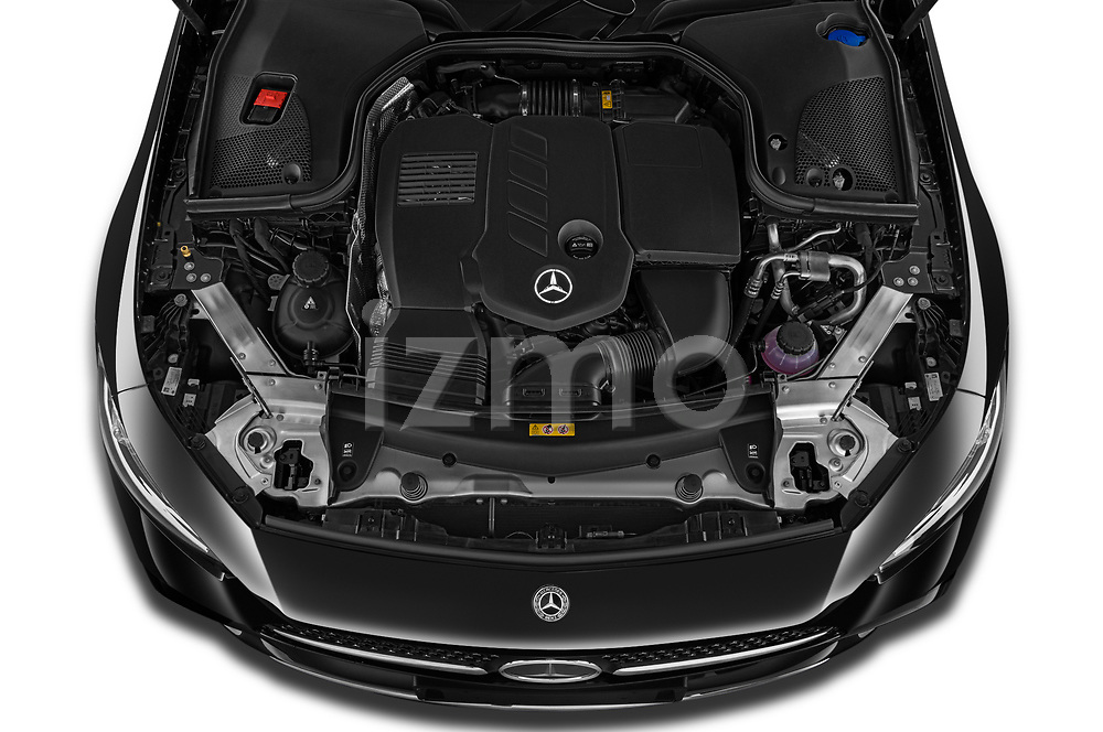 Car Stock 2022 Mercedes Benz CLS-Coupe AMG-Line 4 Door Sedan Engine  high angle detail view