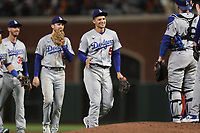 SAN FRANCISCO, CA - OCTOBER 9:  Corey Seager #5 of the Los Angeles Dodgers celebrates with his teammates after Game 2 of the NLDS against the San Francisco Giants at Oracle Park on Saturday, October 9, 2021 in San Francisco, California. (Photo by Brad Mangin)