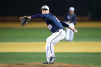 Georgetown Hoyas relief pitcher Tim Davis (28) in action against the Wake Forest Demon Deacons at David F. Couch Ballpark on February 19, 2016 in Winston-Salem, North Carolina.  The Demon Deacons defeated the Hoyas 3-1.  (Brian Westerholt/Four Seam Images)