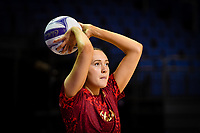 24th September 2021: Christchurch, New Zealand;  George Fisher of England warms up during the third Cadbury Netball Series/Taini Jamison Trophy, New Zealand Silver Ferns versus England Roses, Christchurch Arena, Christchurch, New Zealand