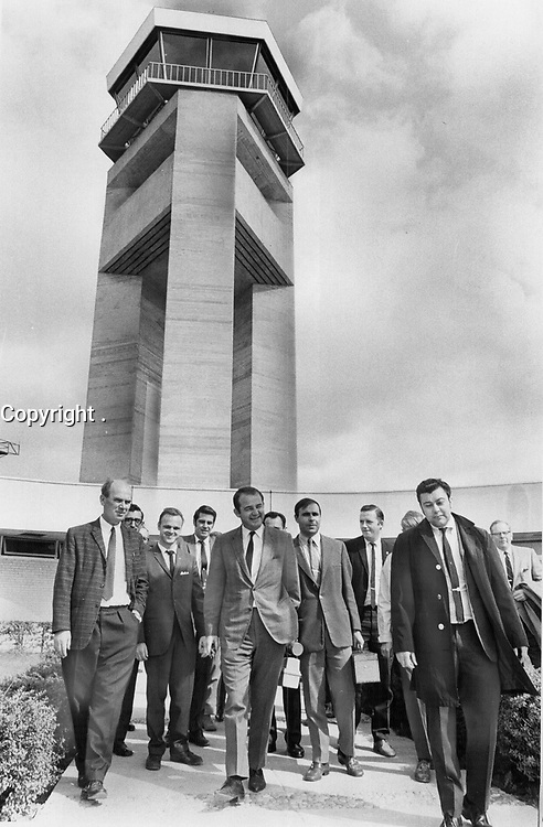 Department of Transport workers walks off the job in a wildcat strike at Toronto International Airport's control tower today. <br /> The 120 striking technicians are protesting the delay in negotiating a new contract with the federal treasury board.<br /> <br /> Griffin, Doug<br /> Picture, 1969,