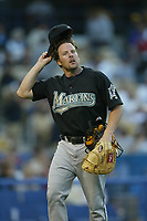 Mike Redman of the Florida Marlins during a 2003 season MLB game at Dodger Stadium in Los Angeles, California. (Larry Goren/Four Seam Images)