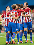 Yannick Ferreira Carrasco of Atletico de Madrid celebrates with teammates after scoring during their La Liga match between Atletico de Madrid and Granada CF at the Vicente Calderon Stadium on 15 October 2016 in Madrid, Spain. Photo by Diego Gonzalez Souto / Power Sport Images