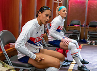 ORLANDO, FL - JANUARY 22: Lynn Williams #6 and Julie Ertz #8 of the USWNT sit in the locker room before a game between Colombia and USWNT at Exploria stadium on January 22, 2021 in Orlando, Florida.