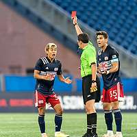 FOXBOROUGH, MA - AUGUST 7: Here it comes. Second yellow, red card ejection of Ryo Shimazaki #31 of New England Revolution II from Ernie Constantine as Collin Verfurth #35 of New England Revolution II questions the call during a game between Orlando City B and New England Revolution II at Gillette Stadium on August 7, 2020 in Foxborough, Massachusetts.