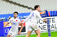 26th March 2021, Stade de France, Saint-Denis, France; Guinness 6-Nations international rugby, France versus Scotland; France celebrate the try from Damian Penaud (Fra)