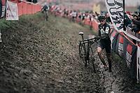Thibau Nys (BEL) plunging in the mud<br /> <br /> Junior Men's Race<br /> Belgian National CX Championschips<br /> Kruibeke 2019