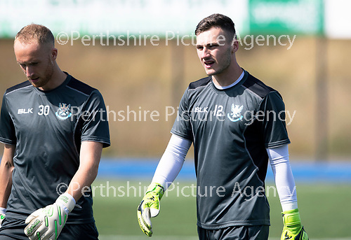 St Johnstone Training….27.07.18<br />Keeper Mark Hurst (left) and Conor Mitchell warm-up during training<br />Picture by Graeme Hart.<br />Copyright Perthshire Picture Agency<br />Tel: 01738 623350  Mobile: 07990 594431