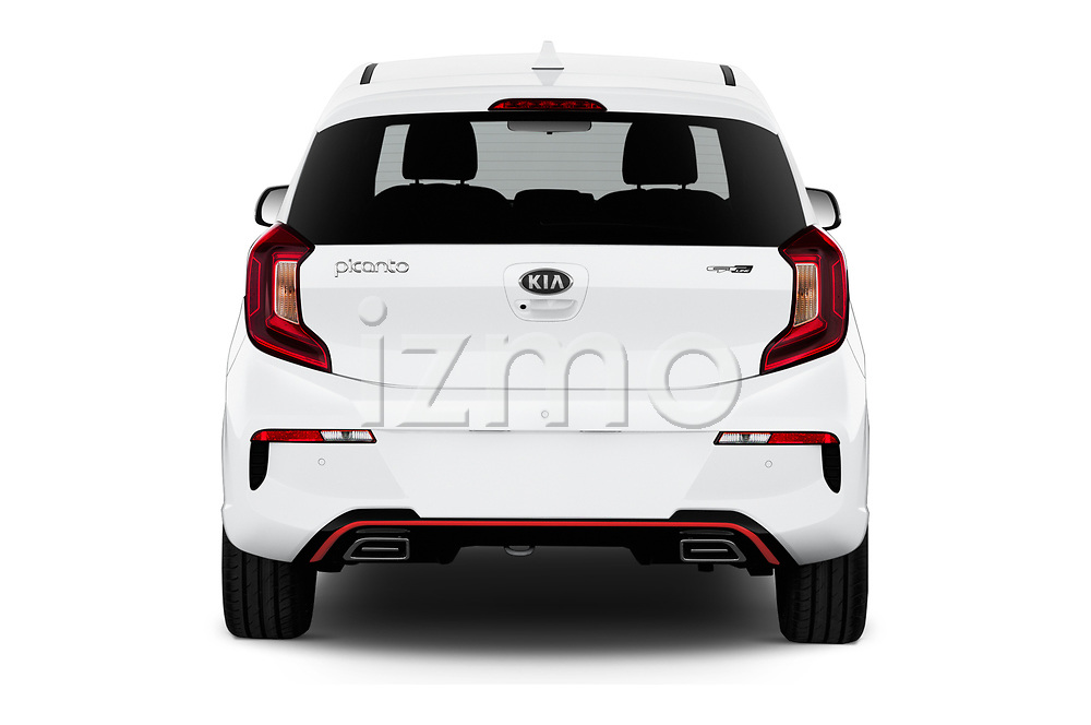 Straight rear view of 2020 KIA Picanto GT-Line 5 Door Hatchback Rear View  stock images