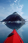 Alaska, Sea Kayakers, Kenai Fjords National Park, Pederson glacier, Kenai Peninsula, Alaska,.