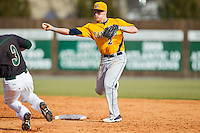 Canisius Golden Griffins shortstop Ronnie Bernick (2) makes a throw to first base against the Charlotte 49ers at Hayes Stadium on February 23, 2014 in Charlotte, North Carolina.  The Golden Griffins defeated the 49ers 10-1.  (Brian Westerholt/Four Seam Images)