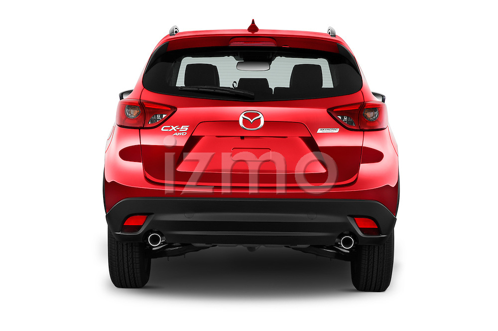 Straight rear view of 2016 Mazda CX-5 Grand-Touring-auto 5 Door SUV Rear View  stock images