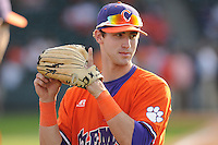 Outfielder Steven Duggar (9) of the Clemson Tigers before in a game against the Furman Paladins on Wednesday, May 8, 2013, at Fluor Field at the West End in Greenville, South Carolina. (Tom Priddy/Four Seam Images)
