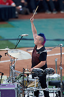 Cincinnati, Ohio based Walk the Moon - drummer Sean Waugaman - perform before the MLB Home Run Derby on July 13, 2015 at Great American Ball Park in Cincinnati, Ohio.  (Mike Janes/Four Seam Images)