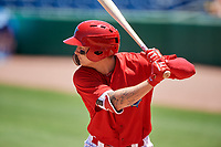 Clearwater Threshers center fielder Mickey Moniak (2) at bat during a game against the Fort Myers Miracle on April 25, 2018 at Spectrum Field in Clearwater, Florida.  Clearwater defeated Fort Myers 9-5. (Mike Janes/Four Seam Images)