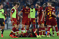 12th September 2021; Olympic Stadium, Rome, Italy, Serie A championship football, Roma versus Sassuolo ; Stephan El Shaarawy of AS Roma celebrate after score the winning goal with teammates in extra time