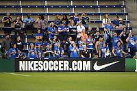Kansas City, Kansas - Saturday April 16, 2016: Members of the FC Kansas City Blue Crew cheer against Western New York Flash at Children's Mercy Park. Western New York won 1-0.
