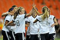 USWNT teammates celebrates Sydney Leroux score.  The USWNT defeated Mexico 7-0 during an international friendly, at RFK Stadium, Tuesday September 3 , 2013.