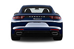 Straight rear view of a 2018 Porsche Panamera 4 E-Hybrid 4 Door Sedan stock images