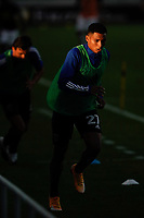 SAN JOSE, CA - SEPTEMBER 16: Marcos Lopez #27 of the San Jose Earthquakes during warmups before a game between Portland Timbers and San Jose Earthquakes at Earthquakes Stadium on September 16, 2020 in San Jose, California.