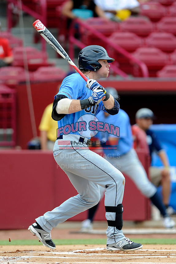 Right fielder Taylor Ostrich (17) of the Old Dominion Monarchs in an NCAA Division I Baseball Regional Tournament game against the Maryland Terrapins on Friday, May 30, 2014, at Carolina Stadium in Columbia, South Carolina. Maryland won, 4-3. (Tom Priddy/Four Seam Images)