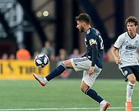 FOXBOROUGH, MA - JUNE 26: Carles Gil #22 controls the ball during a game between Philadelphia Union and New England Revolution at Gillette Stadium on June 26, 2019 in Foxborough, Massachusetts.