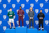 STANFORD, CA - March 7, 2020: Thomas Lane of Cal Poly, Kordell Norfleet of Arizona State University, Nathan Traxler of Stanford, and J.J, Dixon of Oregon State University receive awards during the 2020 Pac-12 Wrestling Championships at Maples Pavilion.