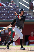 Brad Miller #13 of the High Desert Mavericks bats against the Inland Empire 66'ers at San Manuel Stadium on April 29, 2012 in San Bernardino,California. Inland Empire defeated High Desert 3-0.(Larry Goren/Four Seam Images)