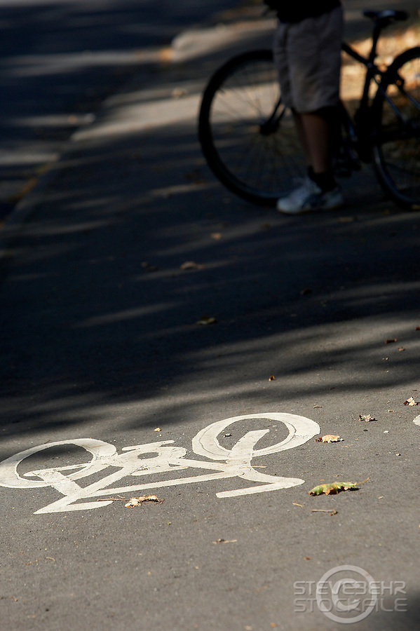 Bike sign on bikepath ..Virginia Water , Surrey , September 2009..pic copyright Steve Behr / Stockfile